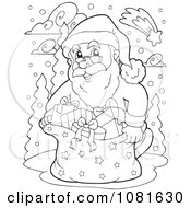 Clipart Outlined Santa With Gifts In The Snow Royalty Free Vector Illustration