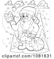 Clipart Outlined Santa Holding Up A Gift In The Snow Royalty Free Vector Illustration