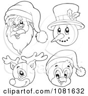Clipart Outlined Santa Snowman Reindeer And Penguin Faces Royalty Free Vector Illustration