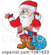 Clipart Santa With A Starry Sack Royalty Free Vector Illustration