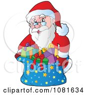 Clipart Santa Putting Gifts In A Starry Sack Royalty Free Vector Illustration
