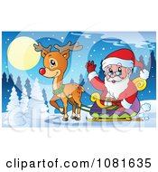 Clipart Santa Waving From His Sleigh In A Winter Landscape Royalty Free Vector Illustration