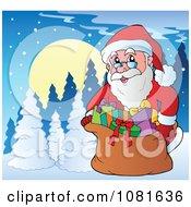 Clipart Santa Closing His Bag In A Winter Landscape Royalty Free Vector Illustration