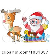 Clipart Santa Waving From His Sleigh Royalty Free Vector Illustration