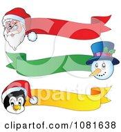 Clipart Santa Snowman And Penguin Christmas Ribbon Banners Royalty Free Vector Illustration