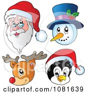 Clipart Christmas Santa Snowman Reindeer And Penguin Faces Royalty Free Vector Illustration by visekart