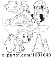Clipart Outlined Seal Penguin And Christmas Bear Royalty Free Vector Illustration by visekart
