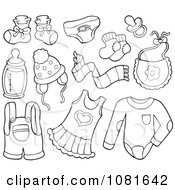 Clipart Outlined Baby Clothes And Items Royalty Free Vector Illustration