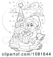 Clipart Outlined Christmas Penguin With A Gift And Tree Royalty Free Vector Illustration