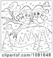 Clipart Outlined Christmas Love Birds On A Branch In The Snow Royalty Free Vector Illustration by visekart