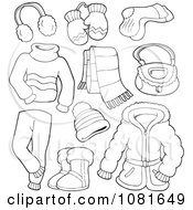 Clipart Outlined Winter Clothing And Accessories Royalty Free Vector Illustration