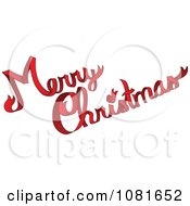 Clipart Red Ribbon Merry Christmas Greeting Royalty Free Vector Illustration