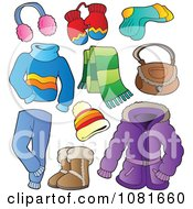Clipart Winter Apparel And Items Royalty Free Vector Illustration by visekart