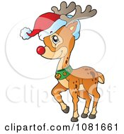 Clipart Rudolph The Red Nosed Reindeer Wearing A Santa Hat Royalty Free Vector Illustration