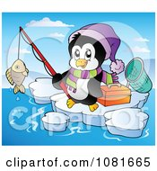 Clipart Penguin Fishing On Ice Royalty Free Vector Illustration by visekart