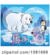 Clipart Polar Bear Penguin And Seals Royalty Free Vector Illustration by visekart