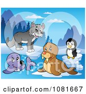 Clipart Wolf Walrus Penguin And Seal Royalty Free Vector Illustration by visekart