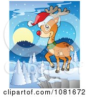 Clipart Rudolph The Red Nosed Reindeer On A Cliff Royalty Free Vector Illustration