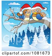Clipart Christmas Love Birds On A Winter Branch Royalty Free Vector Illustration by visekart
