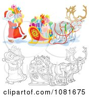 Clipart Colored And Outlined Santas Loading Gifts Into A Sleigh Royalty Free Vector Illustration