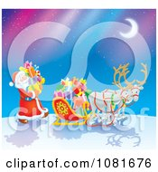 Clipart Santa Loading His Reindeer Sleigh With Gifts Under Northern Lights Royalty Free Illustration
