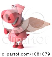 Clipart 3d Winged 3d Pookie Pig Smiling And Facing Left Royalty Free CGI Illustration by Julos
