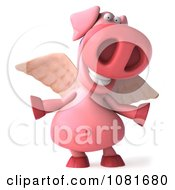 Clipart 3d Winged 3d Pookie Pig With Open Arms Royalty Free CGI Illustration