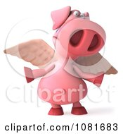 Clipart 3d Winged 3d Pookie Pig Shrugging Royalty Free CGI Illustration