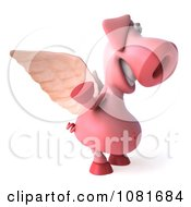 Clipart 3d Winged 3d Pookie Pig Waving Royalty Free CGI Illustration