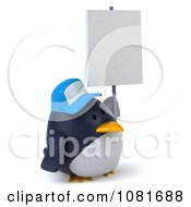 Clipart 3d Chubby Penguin With A Sign Board 2 Royalty Free CGI Illustration