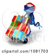 3d Blue Springer Frog Deliverying Christmas Gifts 2