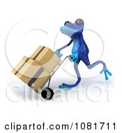 Clipart 3d Blue Springer Frog Moving Boxes 1 Royalty Free CGI Illustration