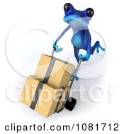 Clipart 3d Blue Springer Frog Moving Boxes 2 Royalty Free CGI Illustration