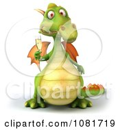 Clipart 3d Green Dragon Toasting With Champagne 4 Royalty Free CGI Illustration