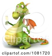 Clipart 3d Green Dragon Toasting With Champagne 5 Royalty Free CGI Illustration