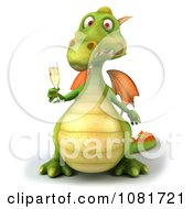 Clipart 3d Green Dragon Toasting With Champagne 6 Royalty Free CGI Illustration