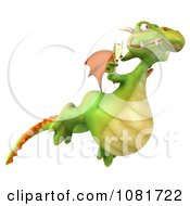 Clipart 3d Green Dragon Toasting With Champagne 7 Royalty Free CGI Illustration