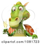 Clipart 3d Green Dragon Toasting With Champagne And A Blank Sign 3 Royalty Free CGI Illustration