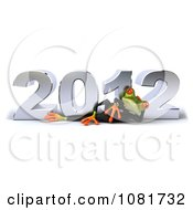 Clipart 3d Business Springer Frog Relaxing In Front Of New Year 2012 Royalty Free CGI Illustration