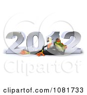 Clipart 3d Business Springer Frog Relaxing With Champagne And New Year 2012 Royalty Free CGI Illustration