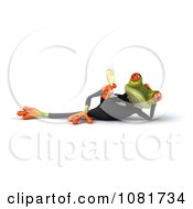 Clipart 3d Reclined Business Springer Frog With Champagne Royalty Free CGI Illustration