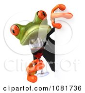Clipart 3d Business Springer Frog Holding Red Wine Around A Sign Board 1 Royalty Free CGI Illustration