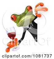 Clipart 3d Business Springer Frog Holding Red Wine Around A Sign Board 2 Royalty Free CGI Illustration