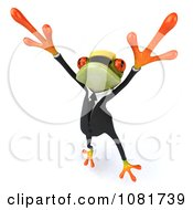 Clipart 3d Contractor Springer Frog Wearing A Hardhat And Dancing 3 Royalty Free CGI Illustration