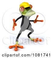 Clipart 3d Contractor Springer Frog Wearing A Hardhat And Dancing 5 Royalty Free CGI Illustration