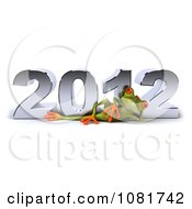 Clipart 3d Springer Frog Relaxing In Front Of New Year 2012 Royalty Free CGI Illustration
