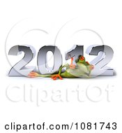 Clipart 3d Springer Frog Reclined In Front Of New Year 2012 Royalty Free CGI Illustration