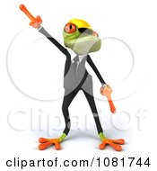 Clipart 3d Contractor Springer Frog Wearing A Hardhat And Dancing 1 Royalty Free CGI Illustration