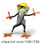 Clipart 3d Contractor Springer Frog Wearing A Hardhat And Dancing 2 Royalty Free CGI Illustration