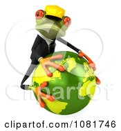 Clipart 3d Contractor Frog Hugging Earth 2 Royalty Free CGI Illustration